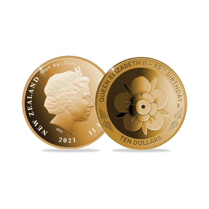 2021 New Zealand Queen's 95th Birthday Quarter Ounce Gold Proof Coin