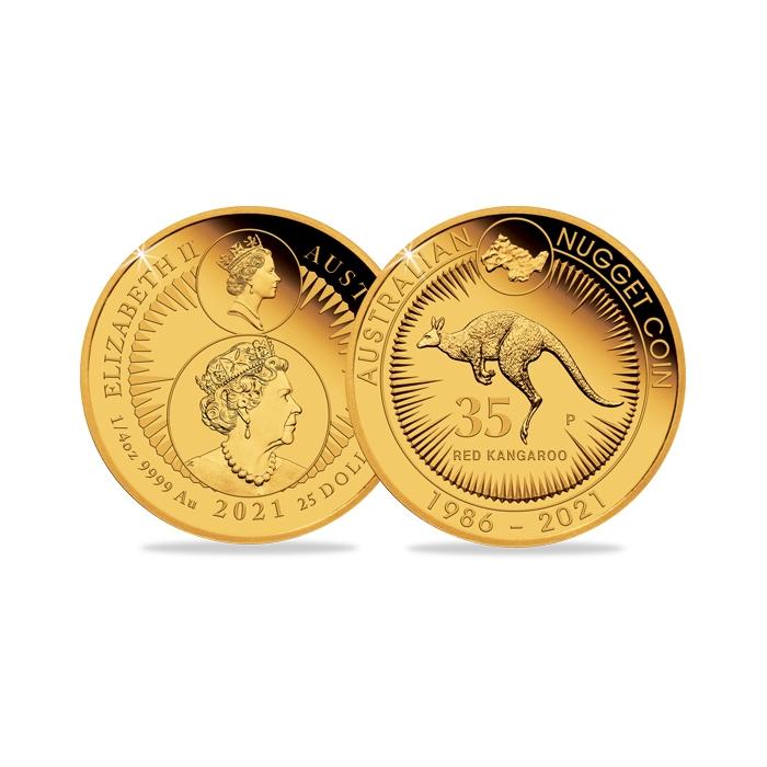 2021 Australia Quarter Ounce Gold Proof 35th Anniversary Kangaroo