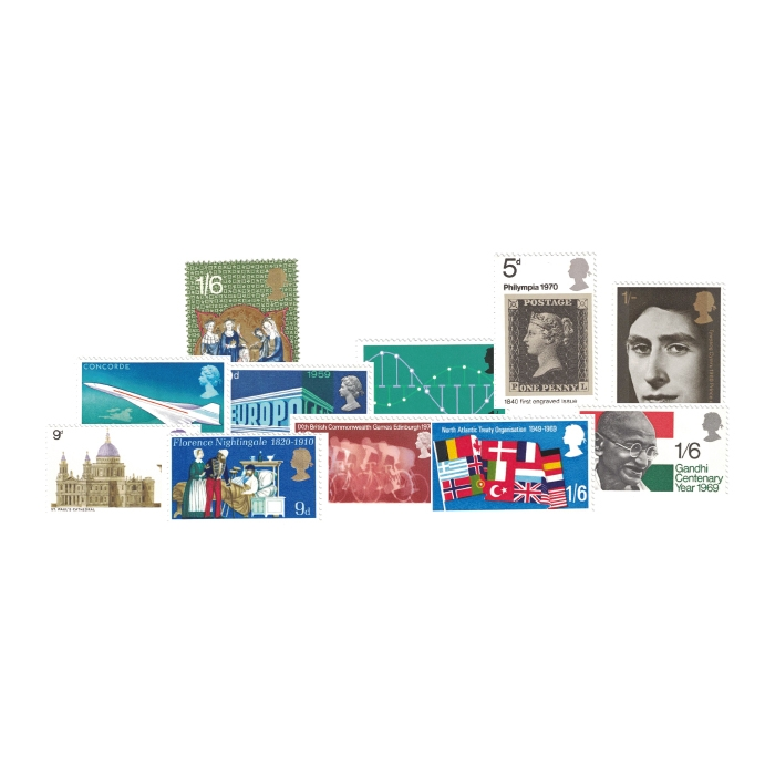 1969 to 1970 Complete Unused Commemorative Stamp Collection