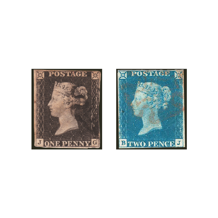 Penny Black & Two Pence Blue Pair
